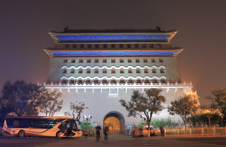 colloquial: Beijing China - October 24, 2016: Unidentified people vist historical Qianmen gate. Qianmen was built in 1419 and the colloquial name for Zhengyangmen