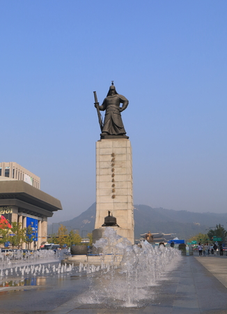 Seoul South Korea - October 20, 2016: Admiral Yi Su Shin Monument. Yi Sun Shin was a Korean naval commander famed for his victories against the Japanese navy during the Imjin war. Editorial