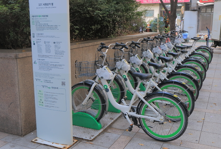 developed: Seoul South Korea - October 20, 2016: Seoul bicycle share scheme. Seoul developed a new bike sharing system in 2015. Editorial