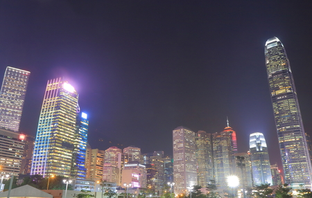 ifc: Night cityscape Hong Kong downtown Stock Photo