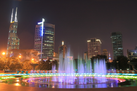 Peoples Square Shanghai night cityscape China