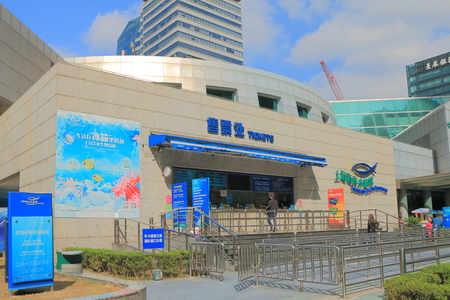 aquarium visit: Shanghai China November 1, 2016: Unidentified people visit Shanghai Ocean Aquarium. Shanghai Ocean Aquarium has one of the longest underwater tunnels in the world.