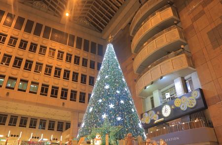 Taipei Taiwan - December 5, 2016: Breeze Taipei Station shopping mall Christmas tree display.