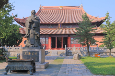 confucian: Confucian statue at Confucian temple in Suzhou China