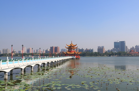 Spring and Autumn pavilion Lotus Pond in Kaohsiung Taiwan