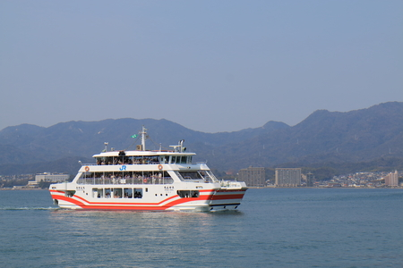 Hiroshima Japan - March 19, 2017: People travel by Miyajima Ferry.