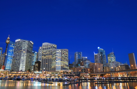 Darling Harbour Sydney night cityscape Australia