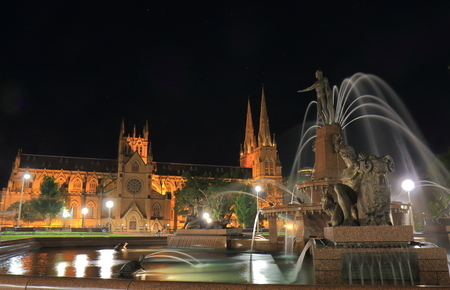 Hyde park and St Marys cathedral night cityscape in Sydney Australia