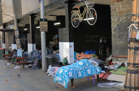 Sydney Australia - May 31, 2017: Unidentified homeless people set up their beds at Martin Place in downtown Sydney Australia. Editorial