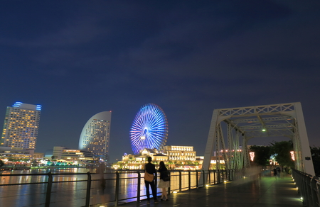 Yokohama downtown night cityscape Japan