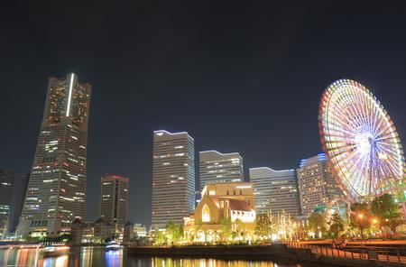 Yokohama downtown night cityscape Japan