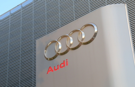 Yokohama Japan - May 28, 2017: Audi car manufacturer. Audi is a German automobile manufacturer that designs, engineers, produces, markets and distributes luxury vehicles.