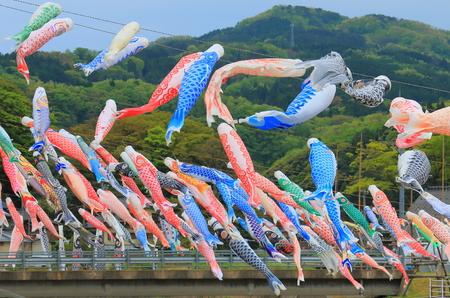 Koinobori in Ishikawa Japan. Koinobori is carp shaped wind socks traditionally flown in Japan to celebrate Tango no sekku childrens day.