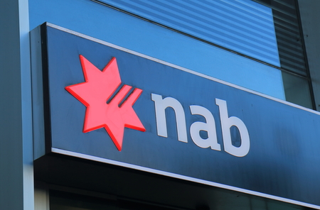 Melbourne Australia - June 30, 2017: National Australia Bank NAB. NAB is one of the four largest bank in Australia and 17th in the world. 報道画像