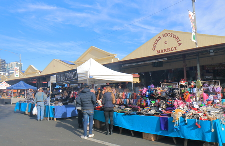 Melbourne Australia - July 2, 2017: People visit Queen Victoria Market in Melbourne. Queen Victoria Market is the largest open air market in the Southern Hemisphere.