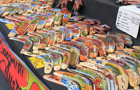 Melbourne Australia - July 2, 2017: Aboriginal boomerang sold at Queen Victoria market.