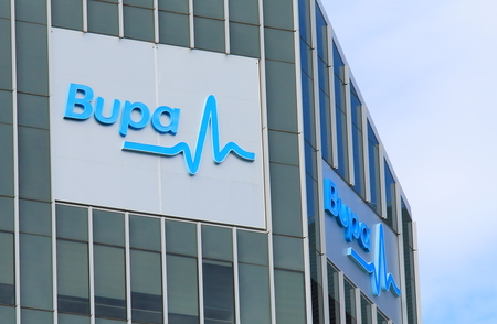 Brisbane Australia - July 9, 2017: Bupa healthcare. BUPA is an international healthcare group with origins and headquarters in the United Kingdom