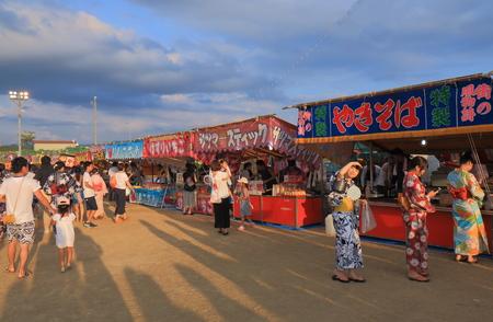 Kanazawa Japan - August 5, 2017: Japanese Taiko drum performance in Kawakita fireworks festival in Kanazawa Japan.