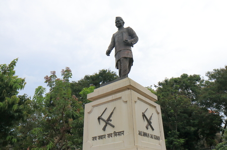Mumbai India - October 11, 2017: Jai Jawan Jai Kisan statue in downtown Mumbai India. Jai Jawan Jai Kisan was a slogan given to India by the Prime Minister of India Lal Bahadur Shastri in 1966 Editorial