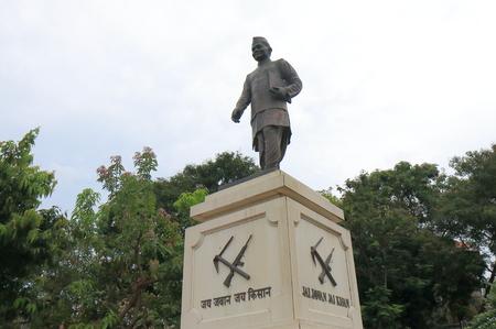 Mumbai India - October 11, 2017: Jai Jawan Jai Kisan statue in downtown Mumbai India. Jai Jawan Jai Kisan was a slogan given to India by the Prime Minister of India Lal Bahadur Shastri in 1966 Editöryel