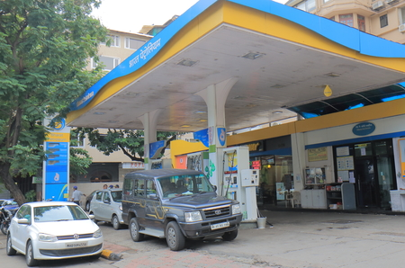 Mumbai India - October 11, 2017: People buy petrol at Bharat Petroleum petrol station in Mumbai India. Bharat Petroleum is Indian state controlled Maharatna oil and gas company. Editorial