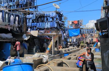 Mumbai India - October 12, 2017: People work in Dhobi Ghat laundry Mumbai India.
