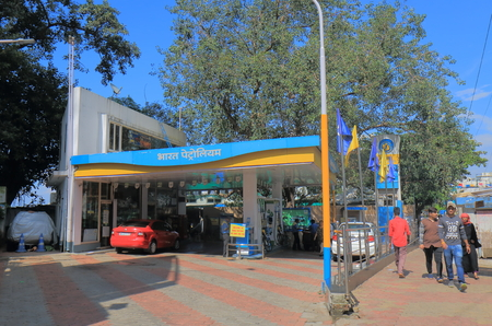 Mumbai India - October 12, 2017: People buy petrol at Bharat Petroleum petrol station in Mumbai India. Bharat Petroleum is Indian state controlled Maharatna oil and gas company.