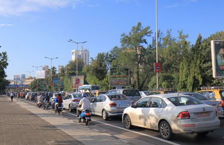 Mumbai India - October 12, 2017: Heavy traffic jam in Marine Drive downtown Mumbai India.