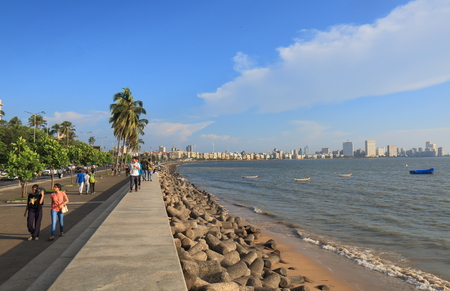 Mumbai India - October 12, 2017: People visit Marine Drive water front in Mumbai India. Editorial