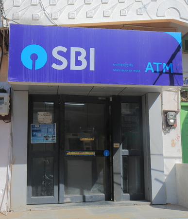 Udaipur India - October 15, 2017: State Bank of India ATM. State Bank of India is Indian multinational public sector banking and financial services company.