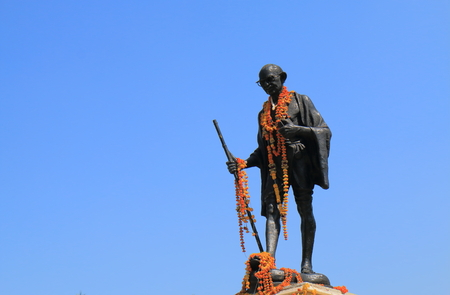 Udaipur India - October 16, 2017: Mahhatma Gandhi statue at Sajjan Nivas park Udaipur India.