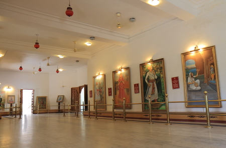 Udaipur India - October 17, 2017: History of the kings display at Hall of Heros museum Udaipur India.