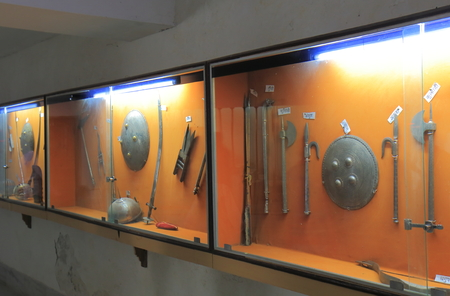 Udaipur India - October 17, 2017: History of weapon display at Hall of Heros museum Udaipur India. Editorial