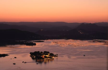 Lake Pichola sunset landscape Udaipur India