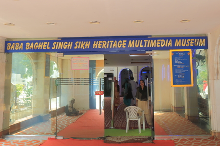 New Delhi India - October 26, 2017: People visit Gurudwara Bangla Sahib Heritage Multimedia Museum in New Delhi India