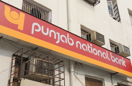 New Delhi India - October 27, 2017: Punjab National bank. Punjab National bank is is an Indian multinational banking and financial services founded in 1894. 報道画像