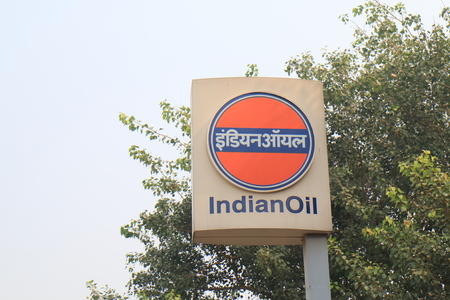 New Delhi India - October 27, 2017: Indian Oil petrol signage. Indian Oil is an Indian state owned oil and gas company headquartered in New Delhi India Editorial