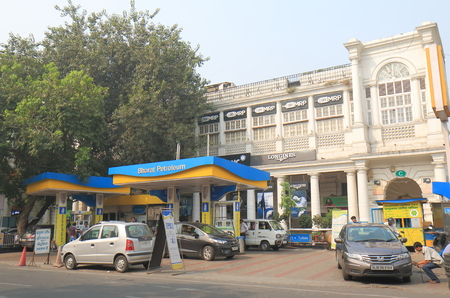 New Delhi India - October 27, 2017: People buy petrol at Bharat Petroleum petrol station in New Delhi India. Bharat Petroleum is Indian state controlled Maharatna oil and gas company.