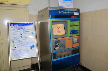New Delhi India - October 27, 2017: New Delhi subway ticket vending machine at Lal Quila station in New Delhi India