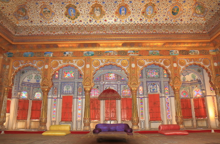 Jodhpur India - October 18, 2017: Luxurious kings room display at Mehrangarh Fort museum in Jodhpur India.