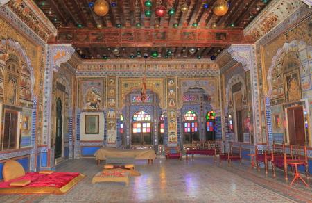 Jodhpur India - October 18, 2017: Luxurious kings room display at Mehrangarh Fort museum in Jodhpur India.