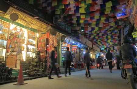 Kathmandu Nepal - November 10, 2017: People visit Thamel shopping street in Kathmandu Nepal. Editorial
