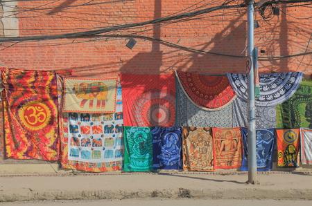 Kathmandu Nepal - November 10, 2017: Handmade rug sold on Thamel shopping street in Kathmandu Nepal.