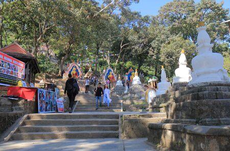 Kathmandu Nepal - November 11, 2017: People visit Swayambhunath Stupa temple Kathmandu Nepal.