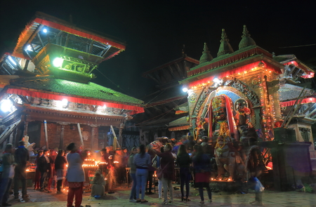 Kathmandu Nepal - November 11, 2017: People visit Durbar Square in Kathmandu Nepal.
