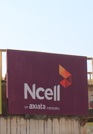 Kathmandu Nepal - November 12, 2017: Ncell mobile phone internet provider. Ncell is a privately owned mobile network operator in Nepal.
