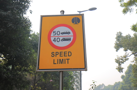 Speed limit traffic signage in New Delhi India