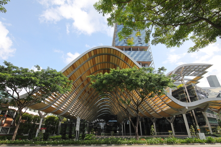 Singapore-November 15, 2018: Unidentified people travel at Esplanade MRT station in Singapore.