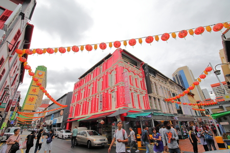 Singapore-November 15, 2018: Unidentified people visit Chinatown in Singapore.