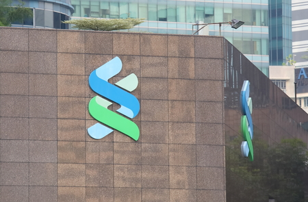 Singapore-November 16, 2018: Standard Chartered bank. Standard Chartered bank is a British multinational bank headquartered in London.